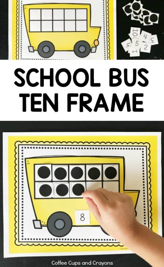 Free Printable School Bus Ten Frame for Preschool, Kindergarten and First Grade Kids!