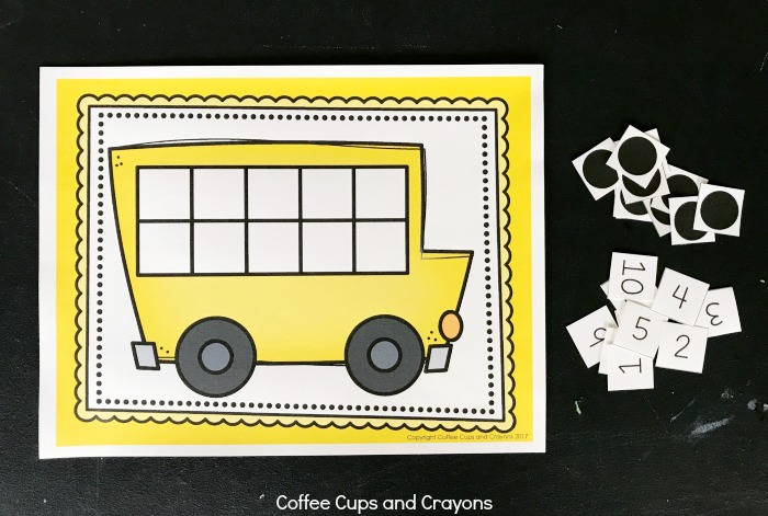 Free printable school bus themed ten frame for kids!