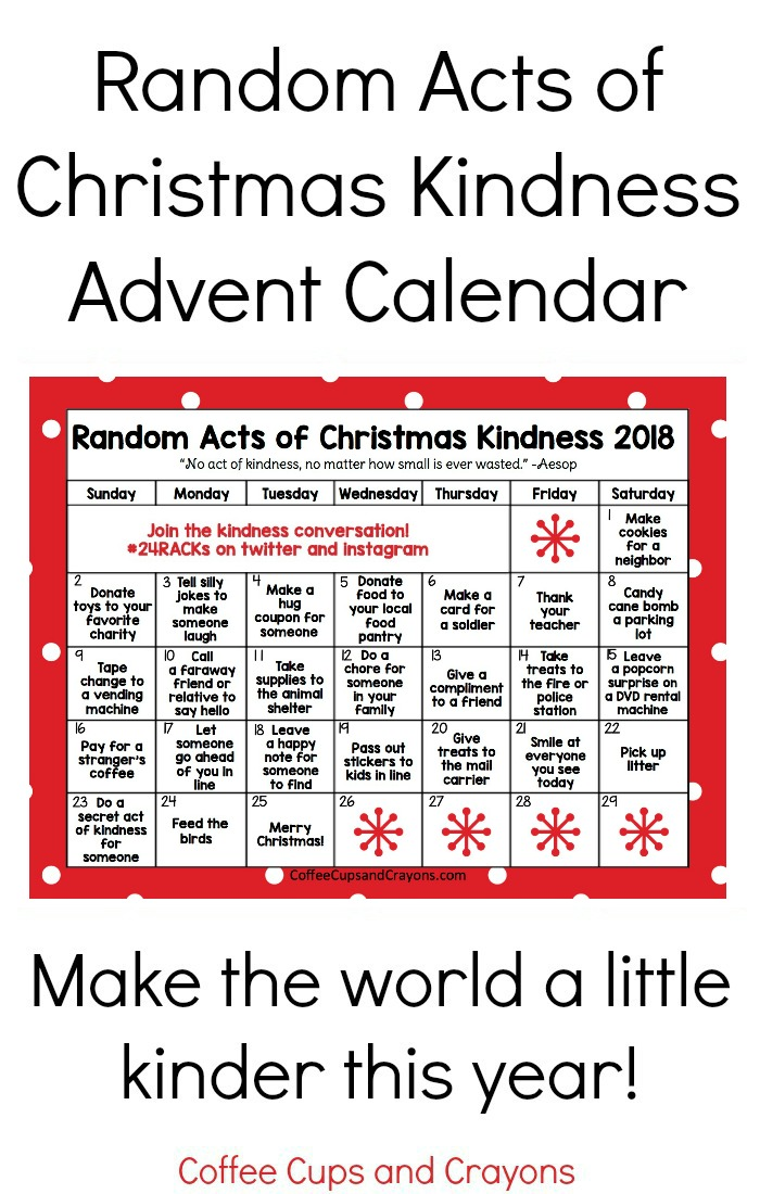 graphic relating to Advent Calendar Printable called Random Functions of Xmas Kindness Introduction Calendar Espresso