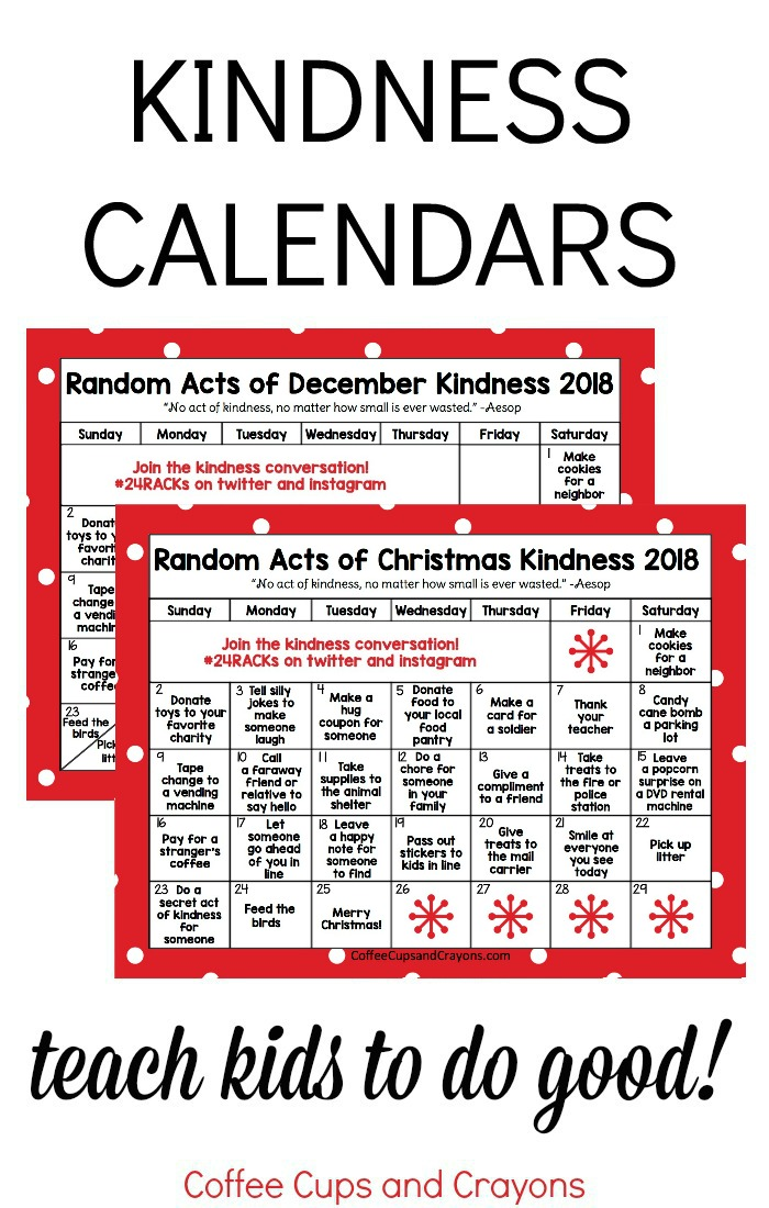 Free printable acts of kindness calendars! 2 versions Christmas and December to teach kids how to be kind this year! #24RACKS #actsofkindness