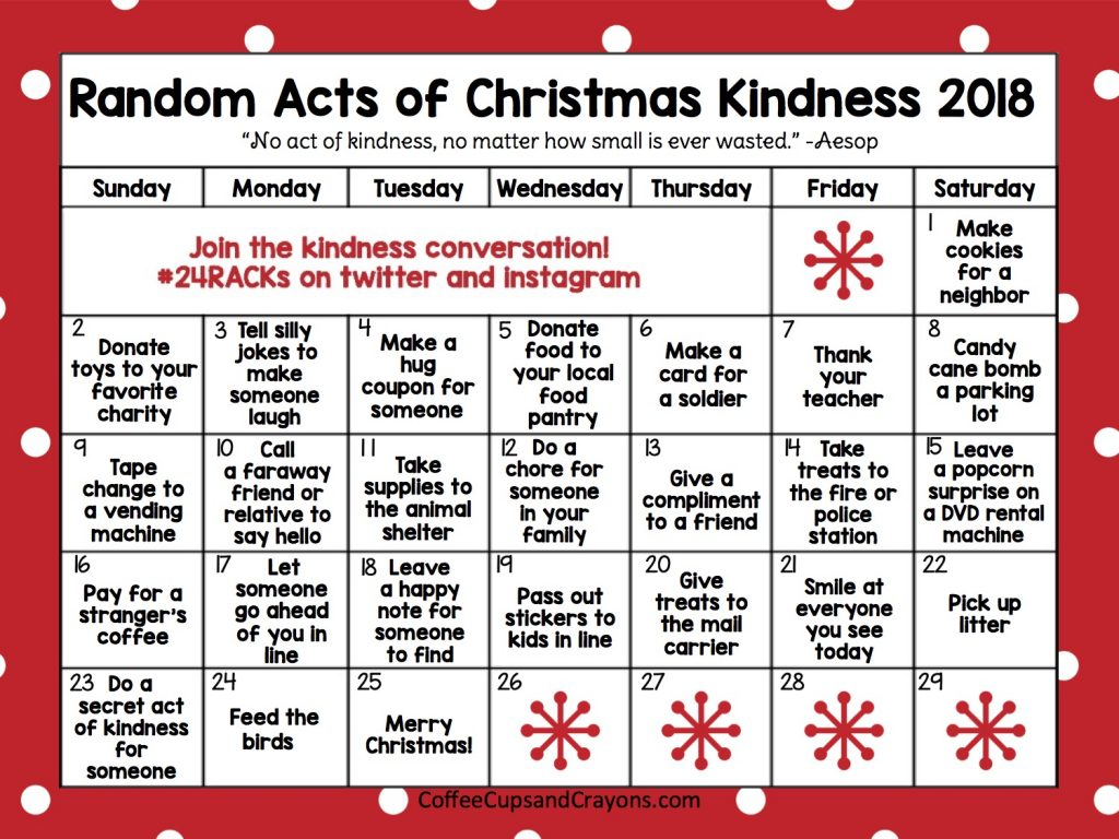 Random Acts of Christmas Kindness Advent Calendar   Coffee Cups and ...