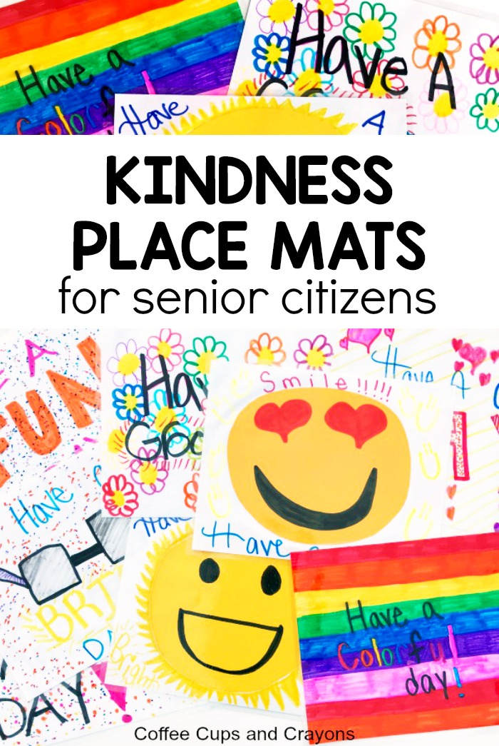 An awesome act of kindness for seniors! Make reusable kindness place mats for senior citizens who can't get out. Great act of kindness for kids and preschoolers! #actsofkindnessforseniors #actsofkindness #kidscrafts #helpthehungry #100actsofkindness #kindnessproject