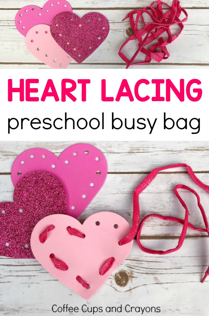Fun heart lacing busy bag for preschoolers! Great for fine motor practice.