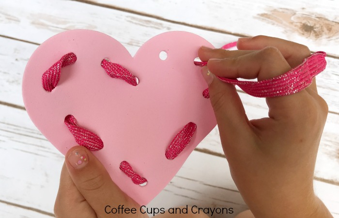 Practice lacing with foam heart cards