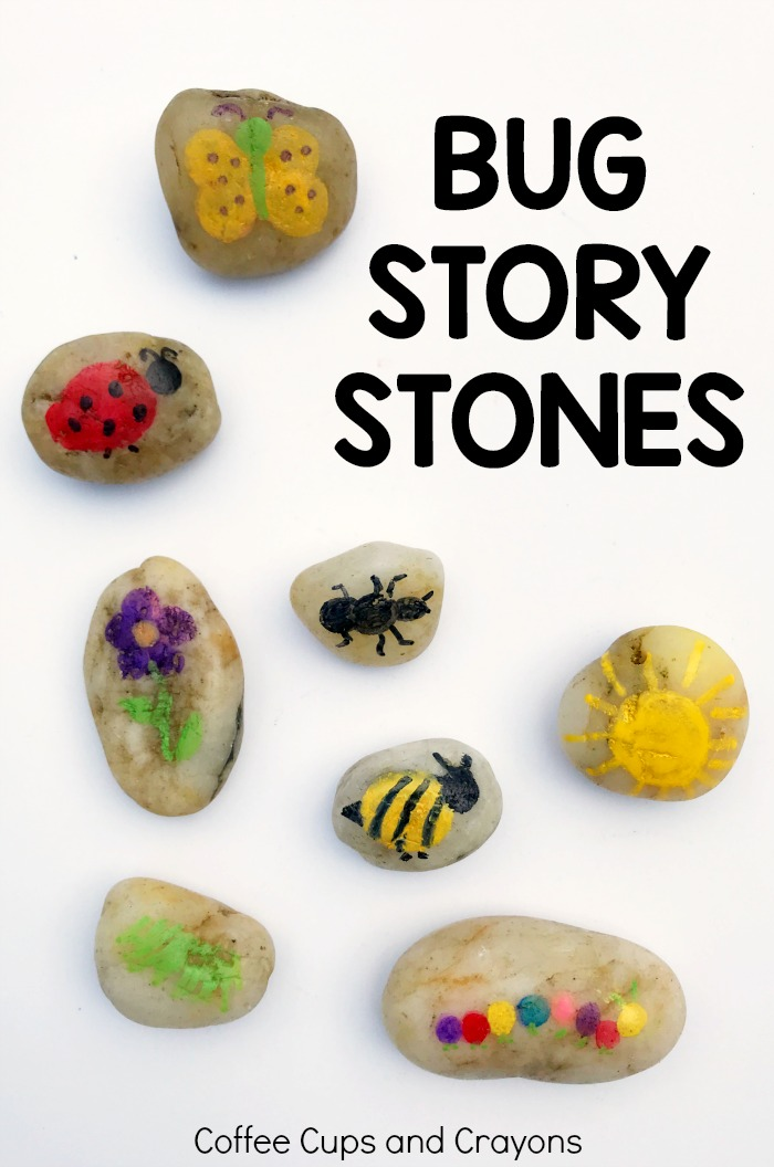 Bug themed story stones for preschool kids! A fun busy bag idea you can use in so many ways!
