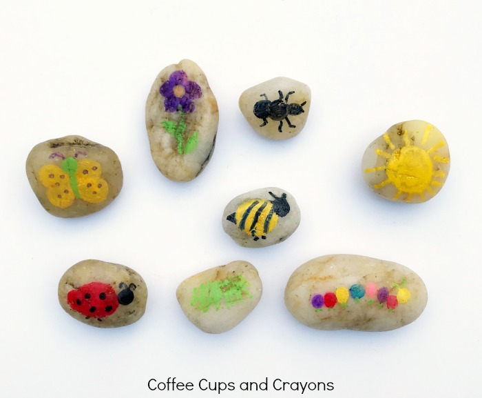 Bug themed story stones for preschool kids
