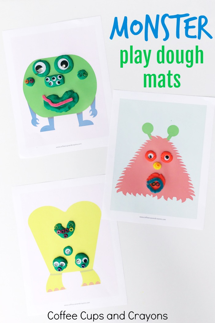 photograph relating to Printable Monster titled Printable Monster Perform Dough Mats Espresso Cups and Crayons