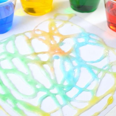Try salt crystal painting! A fun science and art activity for preschool kids! #preschoolSTEAM #Preschoolscience #preschoolart #STEAMactivities