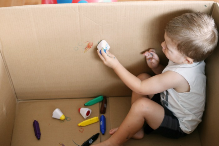Draw inside the box toddler art activity!