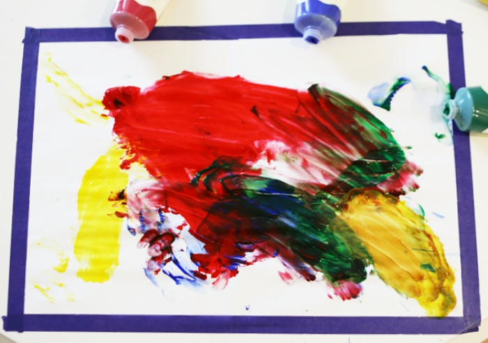 Fingerpainting toddler art activity