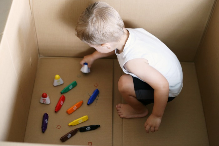 Toddler art activity...draw in a box!