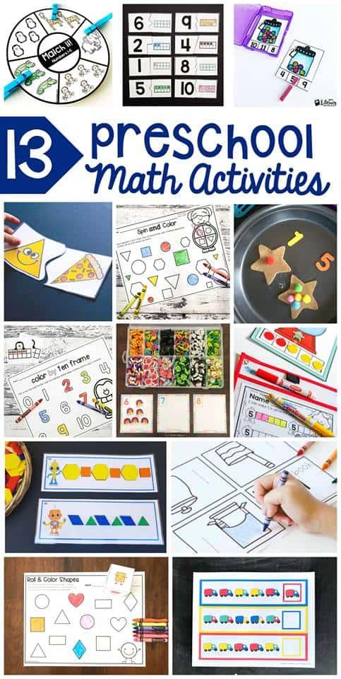 Super fun preschool math activities kids love! Including bunches of cute math #freeprintables! #preschoolmath #preschoolprintables #busybags