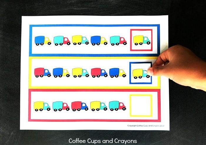 Dump Truck Math Pattern Cards!