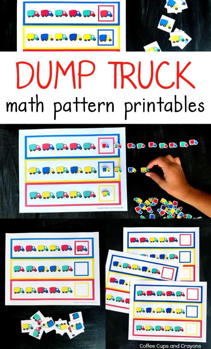 Dump truck preschool math pattern printables! #freeprintables #preschoolmath #preschoolprintables #busybag