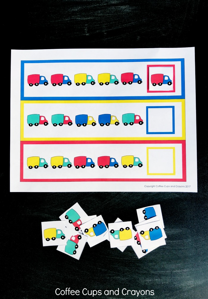 Free printables math pattern printables for preschoolers!