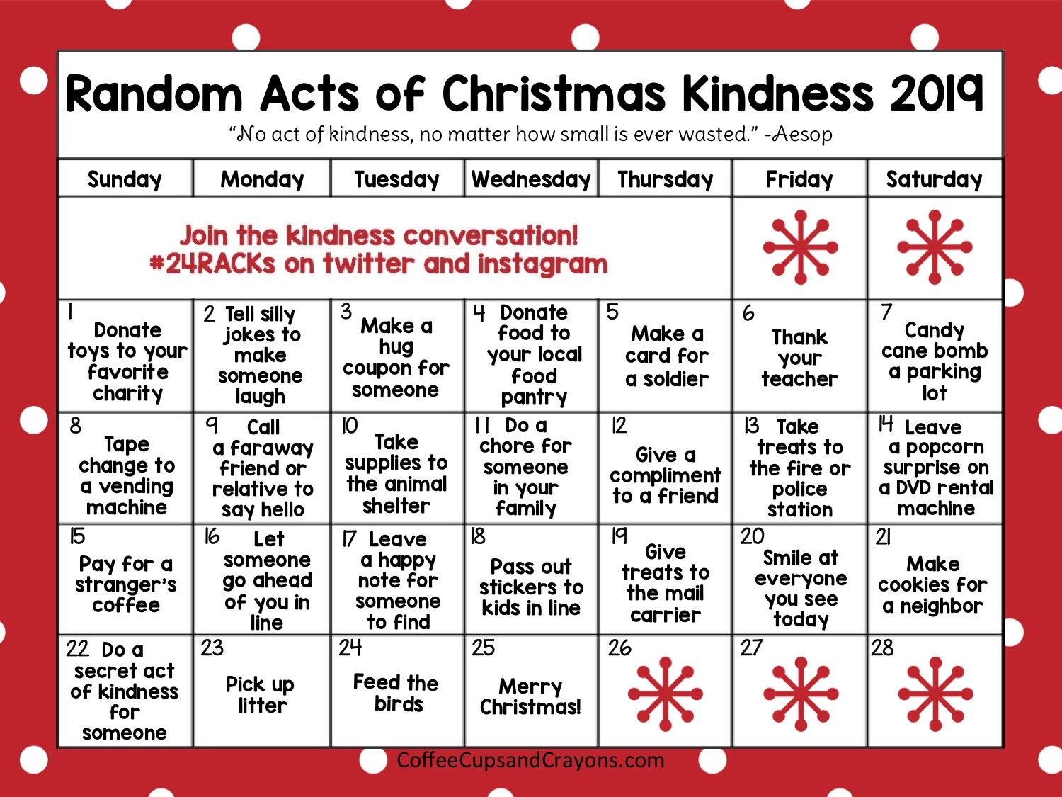Christmas kindness calendar with red border