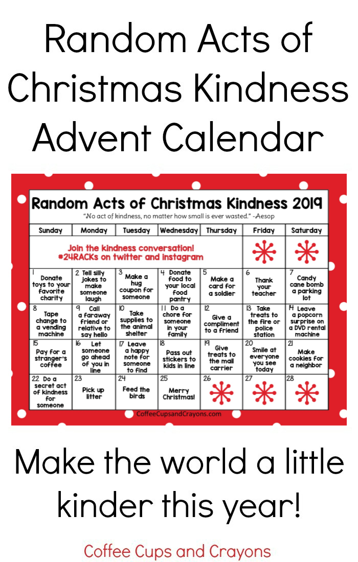 Red calendar with acts of kindess on each day
