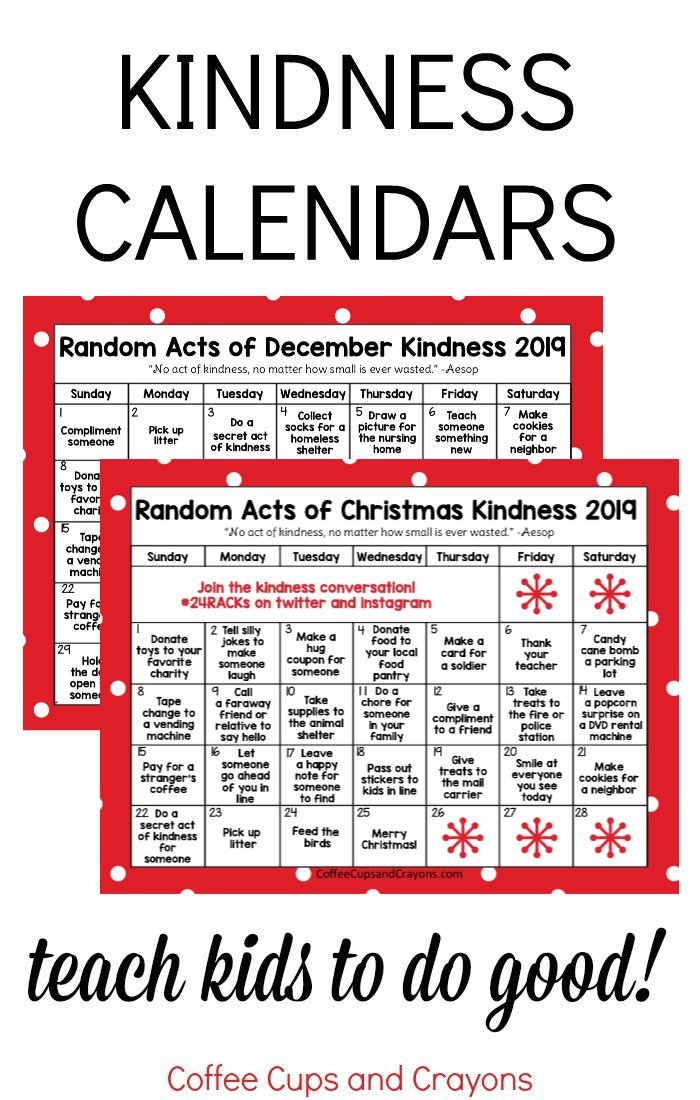 two Christmas kindness calendar images in a collage