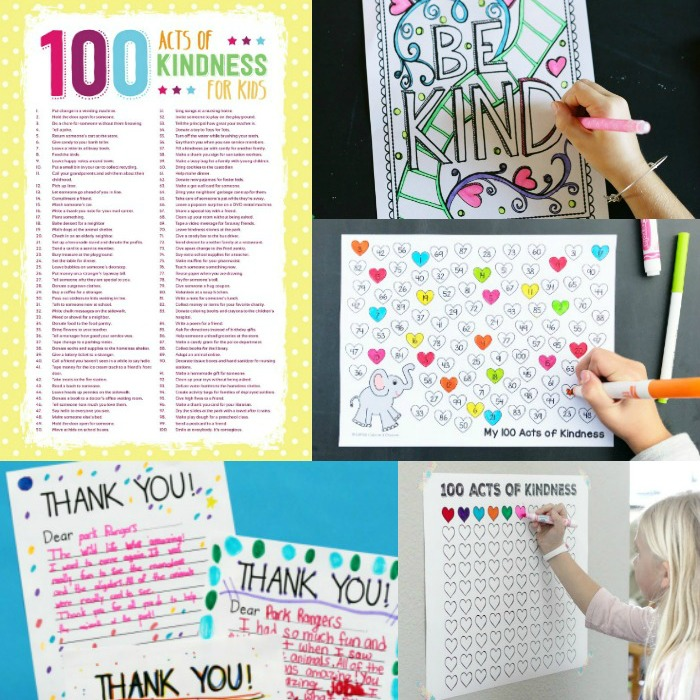 The best free printables to use for the 100 acts of kindness project!