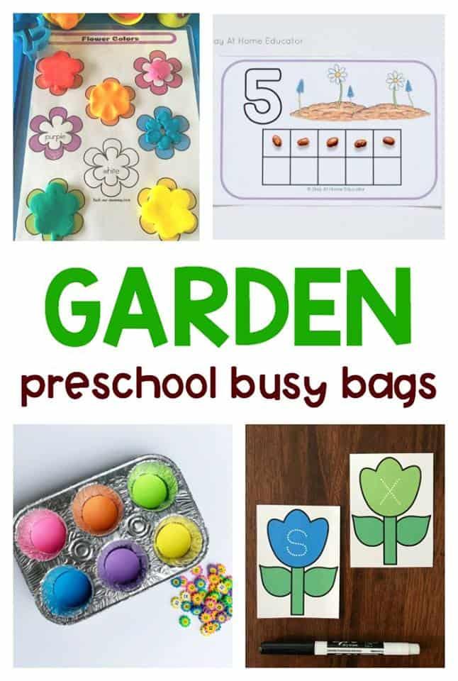 garden themed preschool busy bags