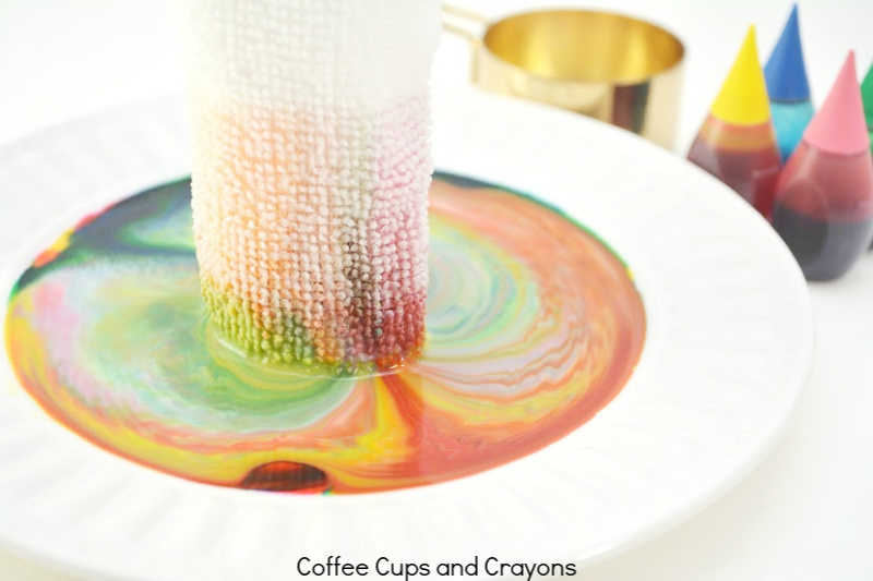 rag dipped in food coloring and milk