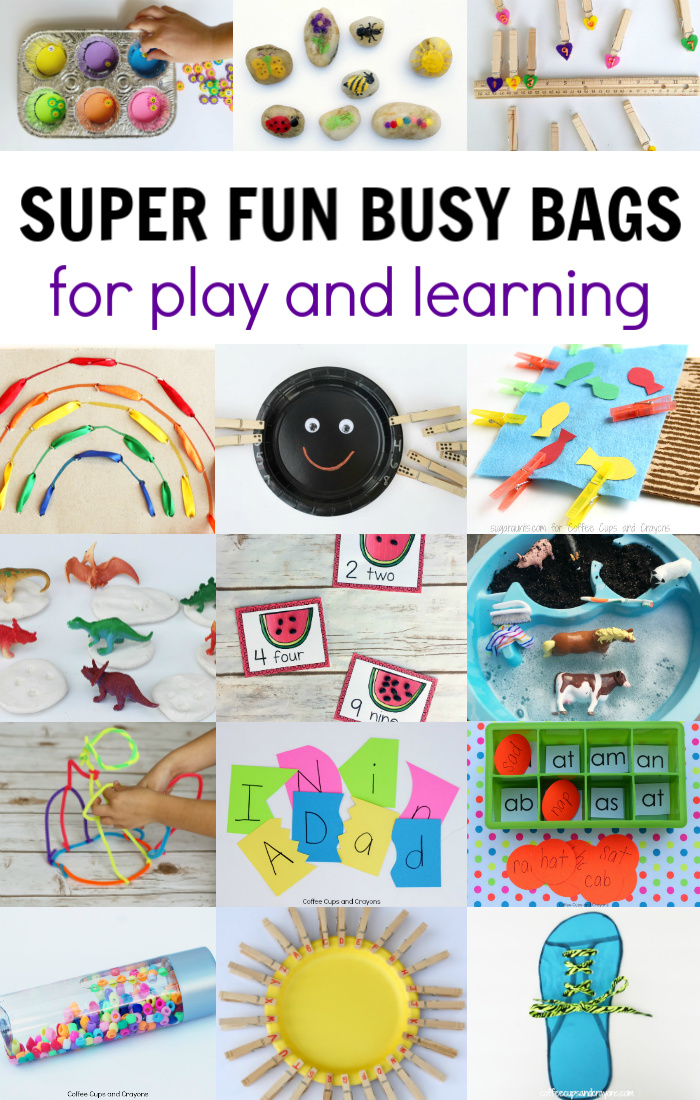 a collage of different busy bags for kids