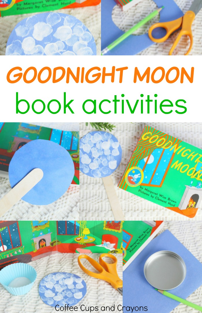 photo collage of book Goodnight Moon and craft supplies
