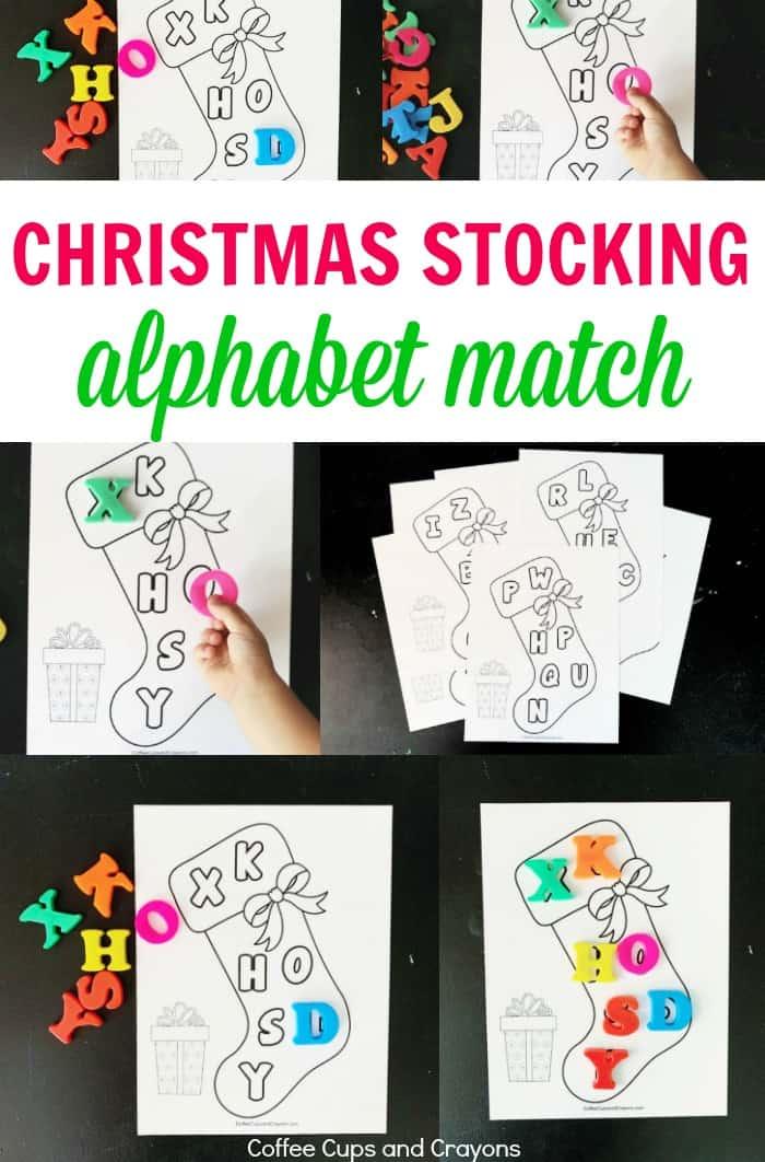Make ABC practice fun with this free printable Christmas stocking alphabet math busy bag!