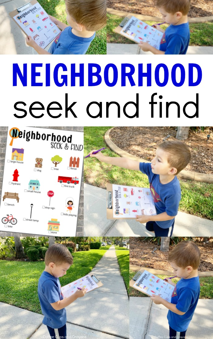 collage of boy using neighborhood printable outdoors with text reading Neighborhood Seek and Find